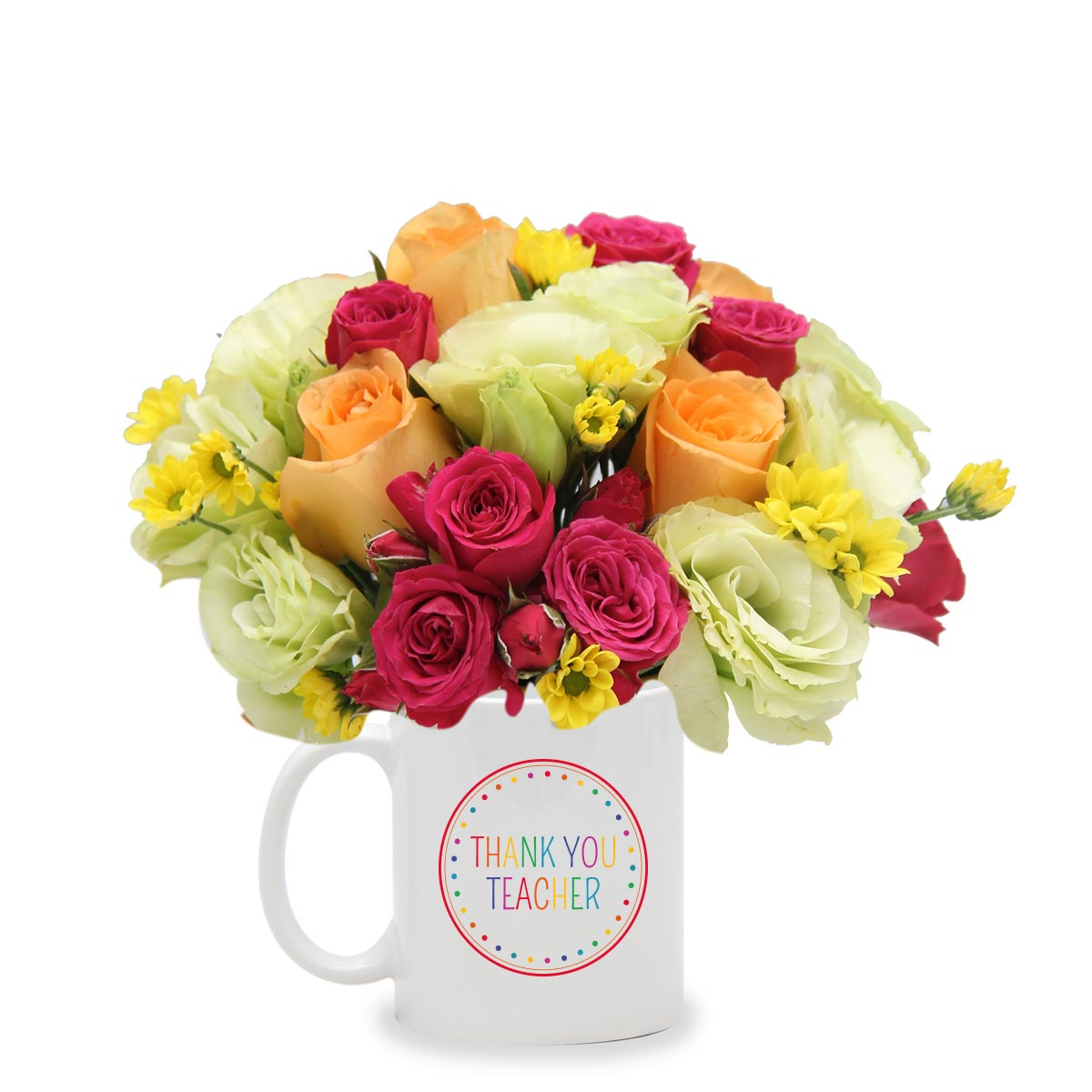 COB1602 Gratefulness shocking pink orange roses arrangement