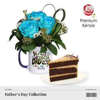 Cake Daddy Happy (3 blue roses with Twenty Grammes slice cake)