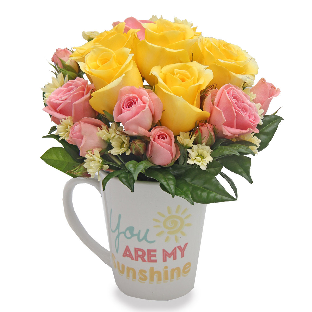 KS1527 My Only Sunshine yellow pink roses arrangement