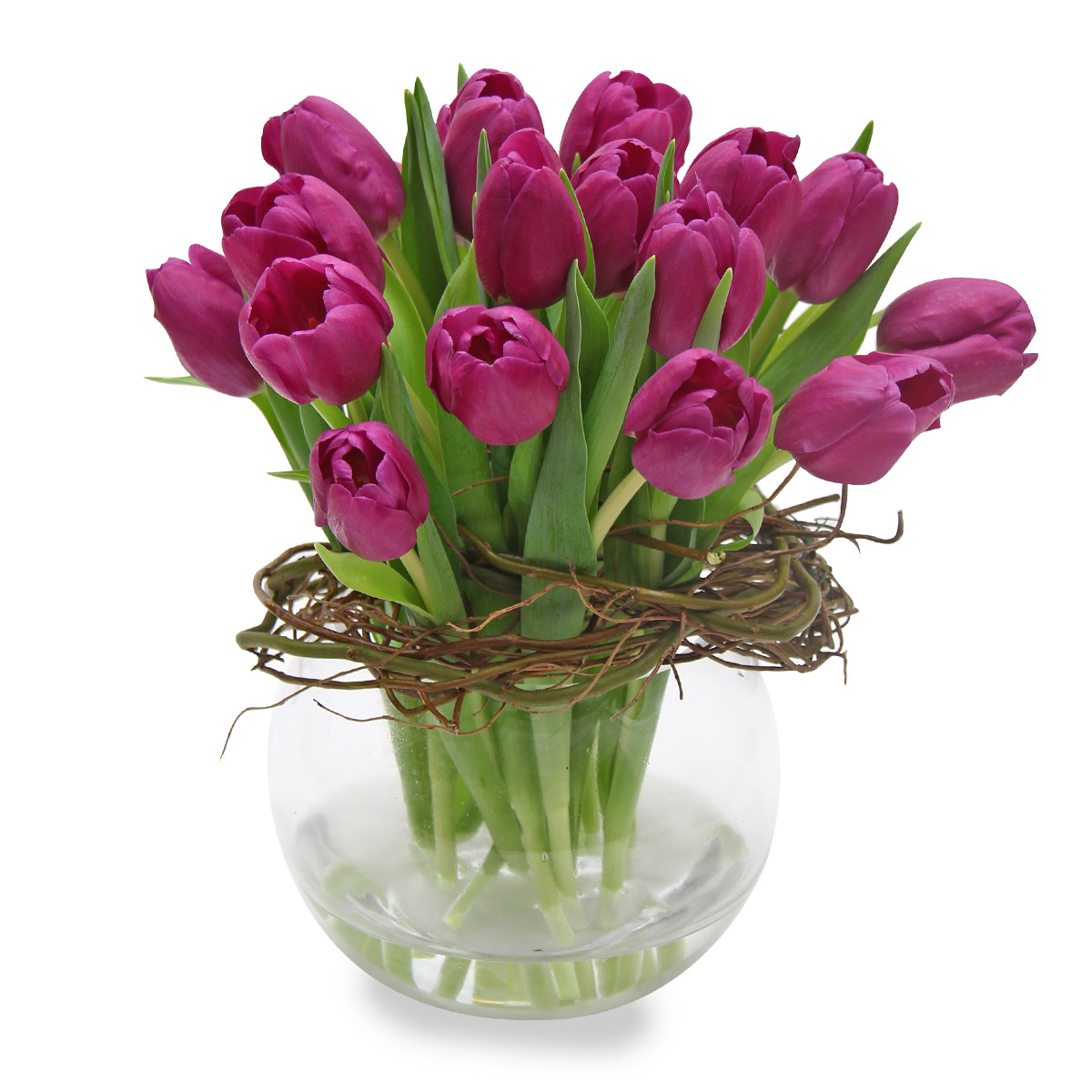 AF1502 One Fine Day Purple tulips arrangement