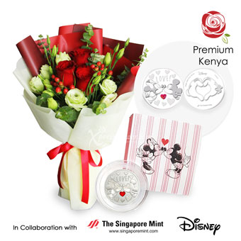 Minty Kisses (3 Kenya red roses with Disney love medallion)