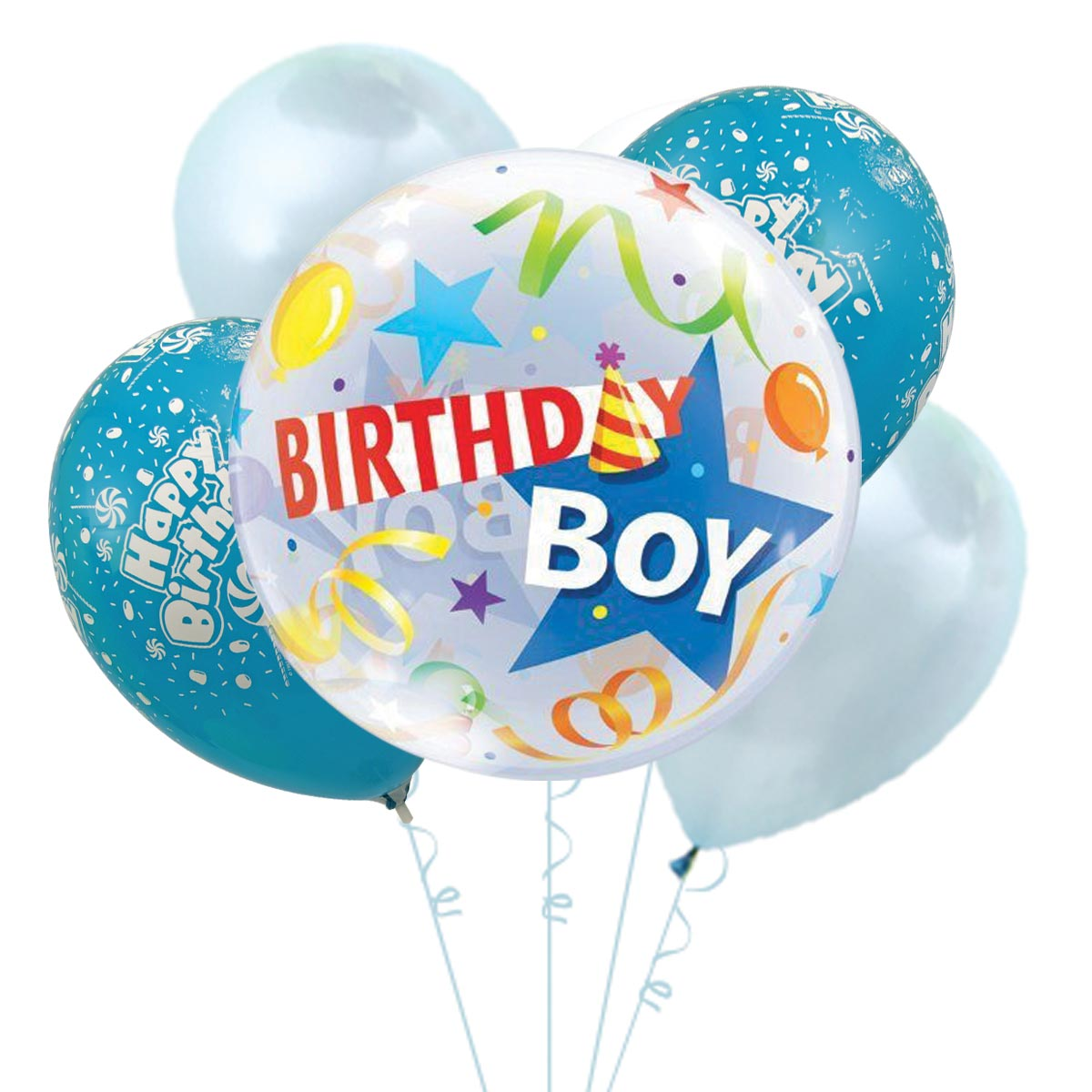 HBQ1708 best birthday boy helium balloon bouquet