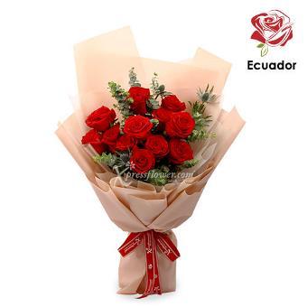 Blushing Garnet - 12 stalks Premium Ecuador Red Roses