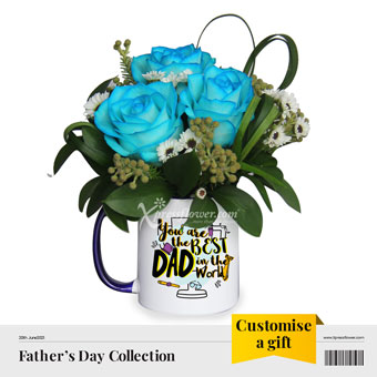 Best Daddy (3 blue roses)
