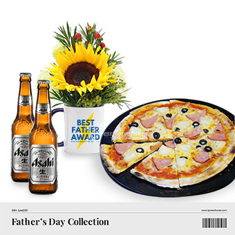 Beer-y Cheesy Dad Award (1 sunflower with Asahi beer and Hawaiian pizza combo)