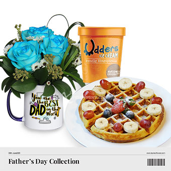 Love Dad A-waffle Lot (3 blue roses with Udders Awesomely Chocolate ice cream and waffle combo)