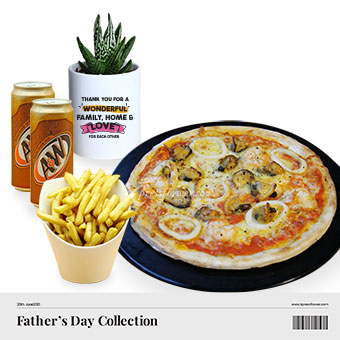 Dad's A-dough-rable Pleasures (Cactus plant with Knots seafood pizza combo)