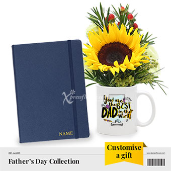 Daddy, That's Write! (1 sunflower with personalised A5 saffiano notebook)