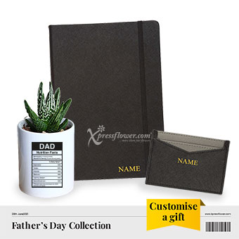 Boss Daddy (Cactus plant with personalised A5 saffiano notebook and cardholder)