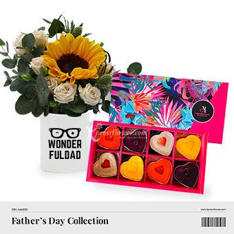 Daddy Sweet Sunshine (1 sunflower with TheJellyHearts mini heart gift box)