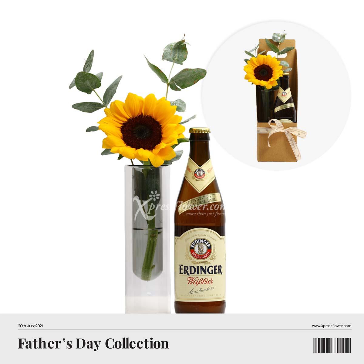 A Toast to Sunny Days (1 sunflower with Erdinger Weissbier beer)