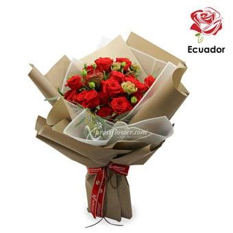 Flaming Ruby Beauty (24 stalks Premium Ecuador Red Roses)
