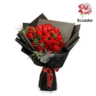 Black Opal (50 stalks Premium Ecuador Red Roses)