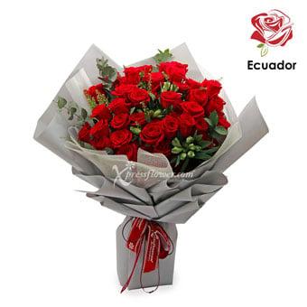 Glittering Moonstone (50 stalks Premium Ecuador Red Roses)