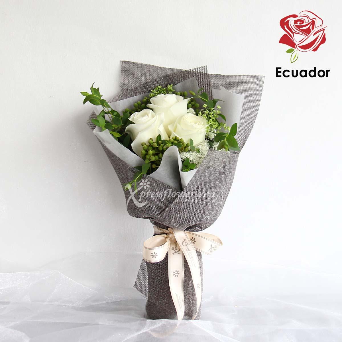 Immaculate Purity (3 stalks Premium Ecuador White Roses)