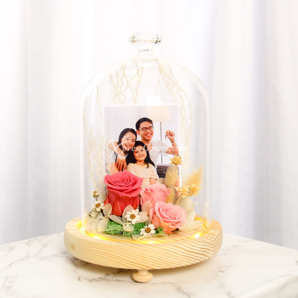 Pink Beauty (Preserved Roses with personalised photo and LED lights)