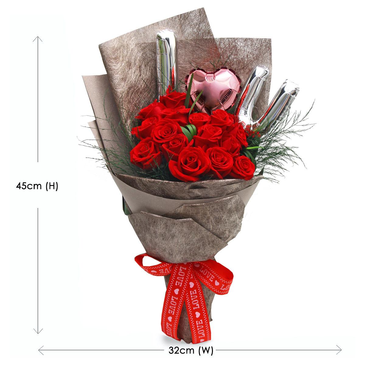 BQ1430 red rose bouquet