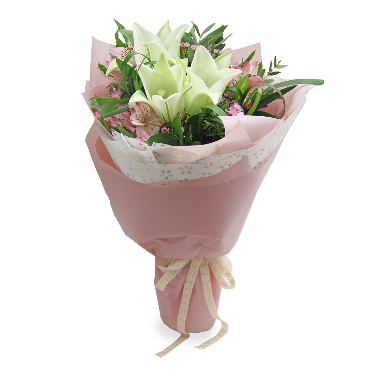 BQ1615A white lily bouquet
