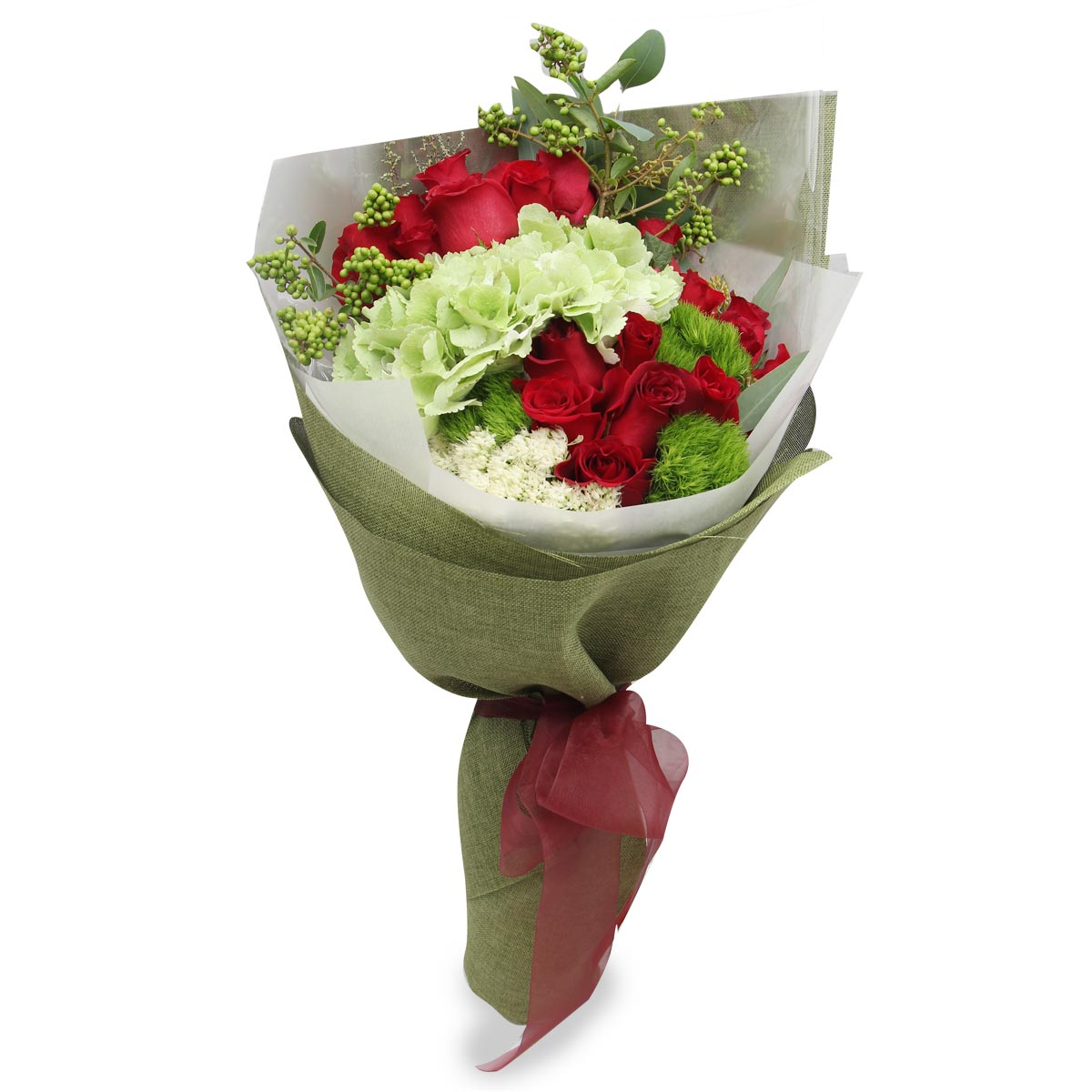 BQ1733 pretty daring red roses green hydrangea