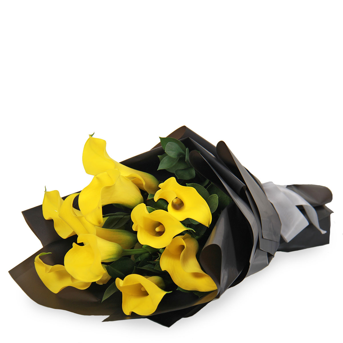 BQ1738 bright burst yellow calla lilies