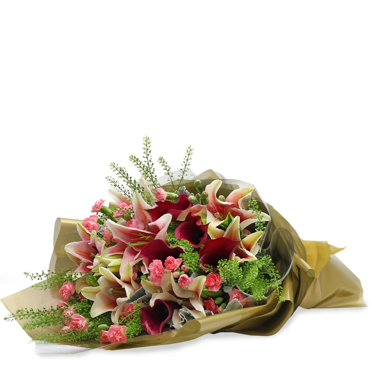 BQ1747 exquisitely yours maroon calla lilies pink lilies