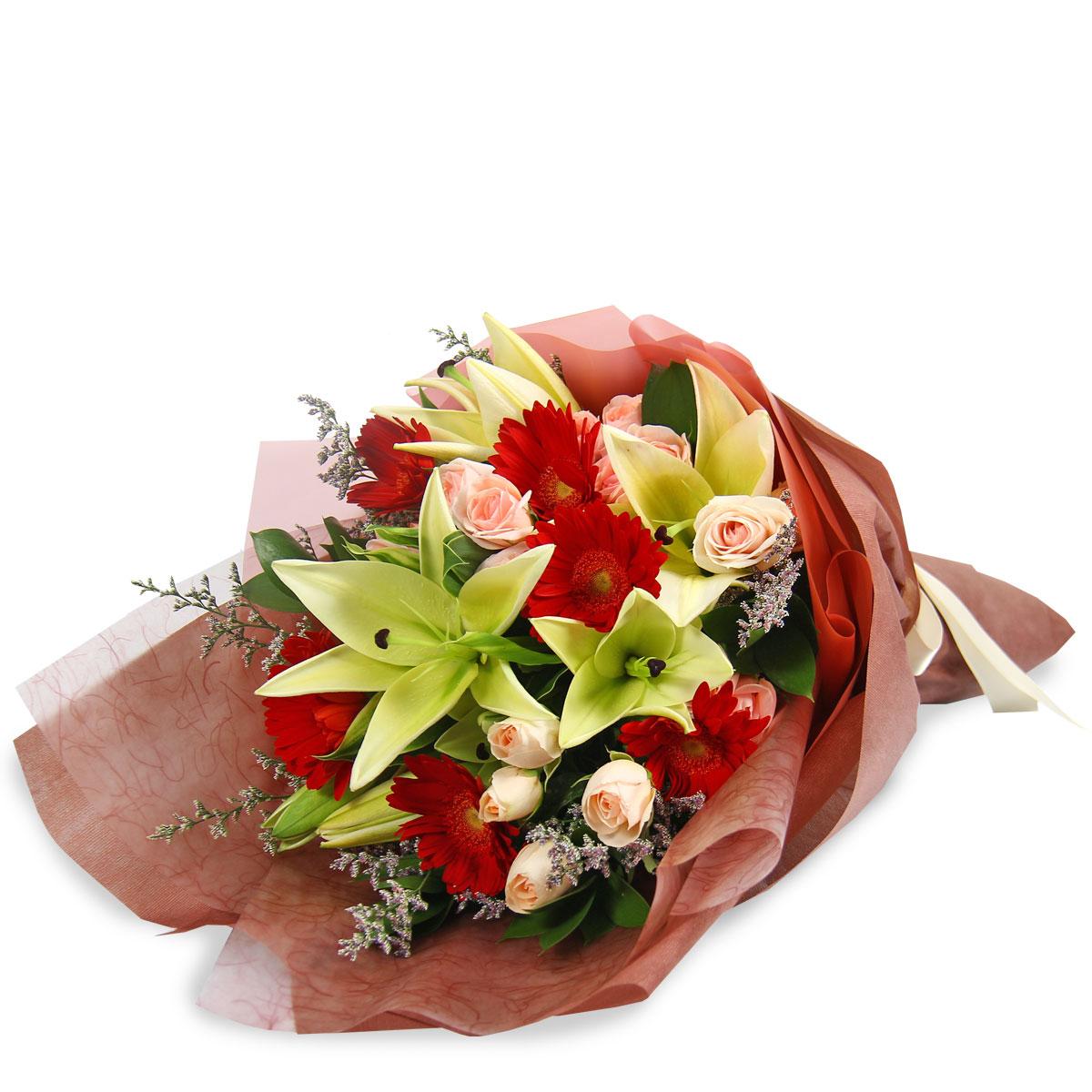 BQ1749 refined beauty yellow lilies red gerberas