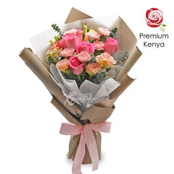 Innocent Charmer (6 dark pink roses & 6 pink carnations)