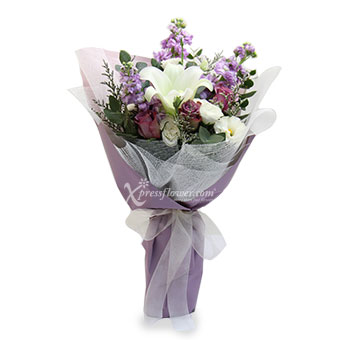 Violet Romance (White Lily & Yam Roses)