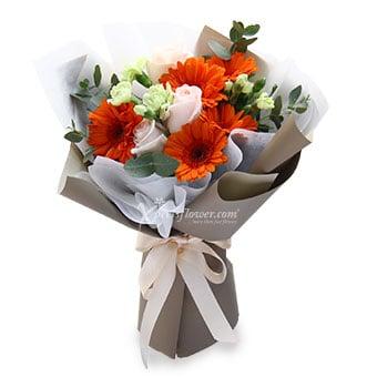 Sunrise Blooms (5 orange gerberas & 3 pink roses)