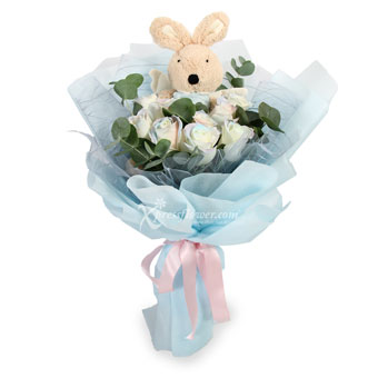Lovely Innocence (9 White Roses with Bunny Toy)