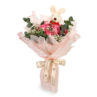 Bopping Pinky (9 Dark Pink Roses with Bunny Toy)