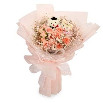 Beary Sweet Love (Rose Spray with Wedding Bears)