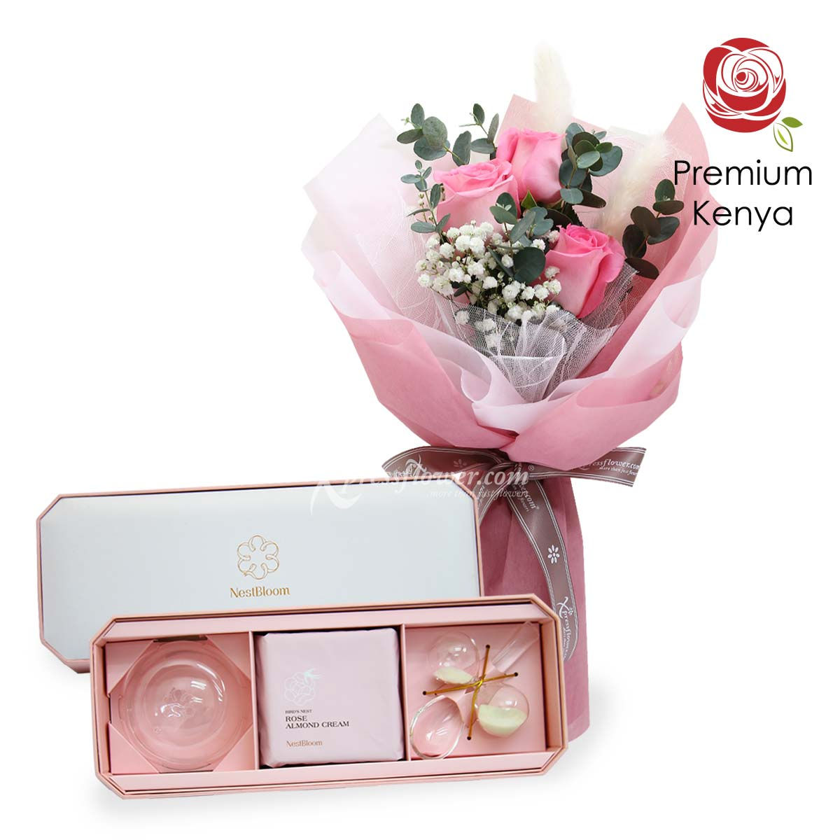 Sweet Pink 'O Mine (3 pink roses with NestBloom bird's nest)