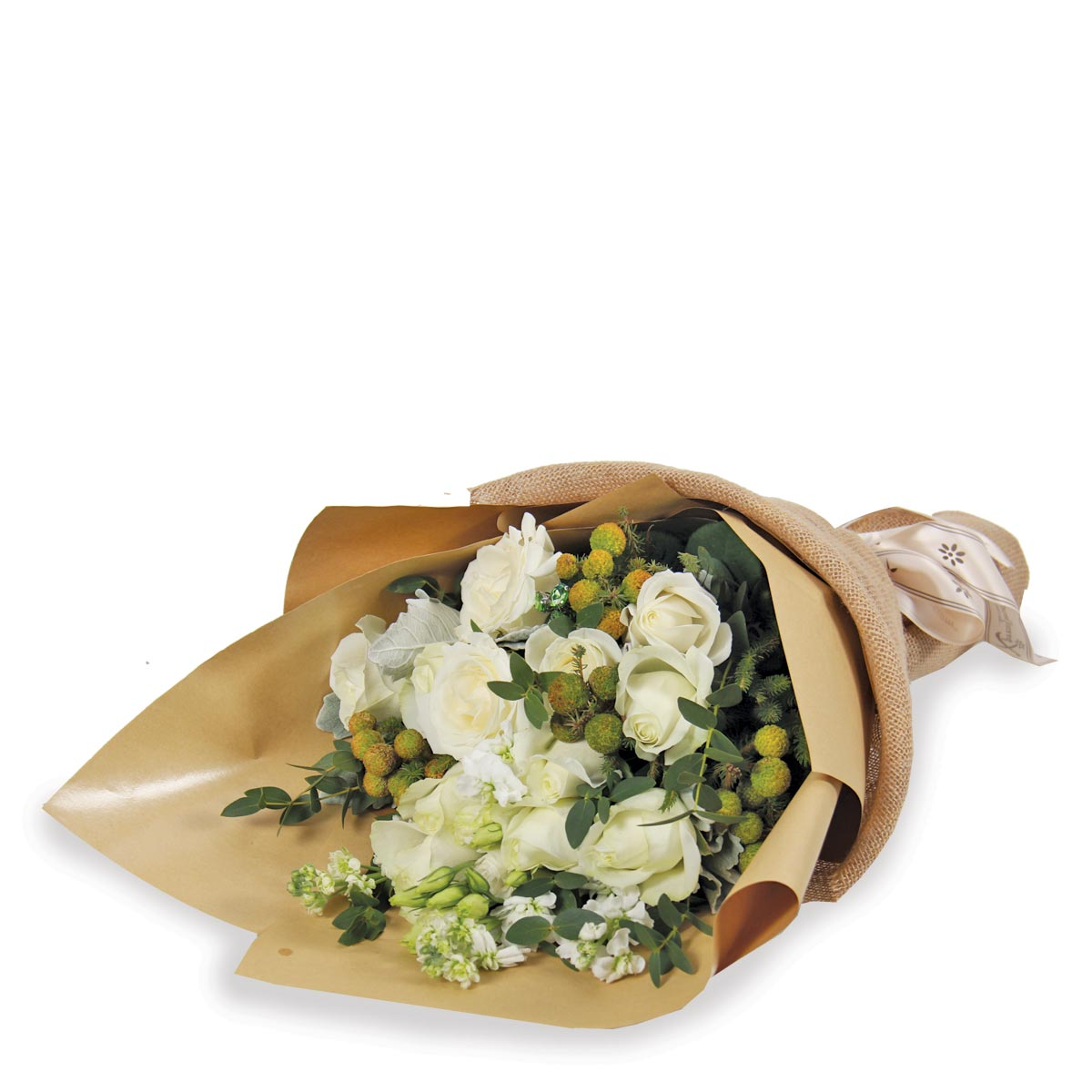 PDT1701 tranquil vibes hand bouquet white roses