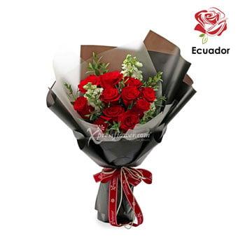 Black Pearl (12 stalks Premium Ecuador Red Roses)