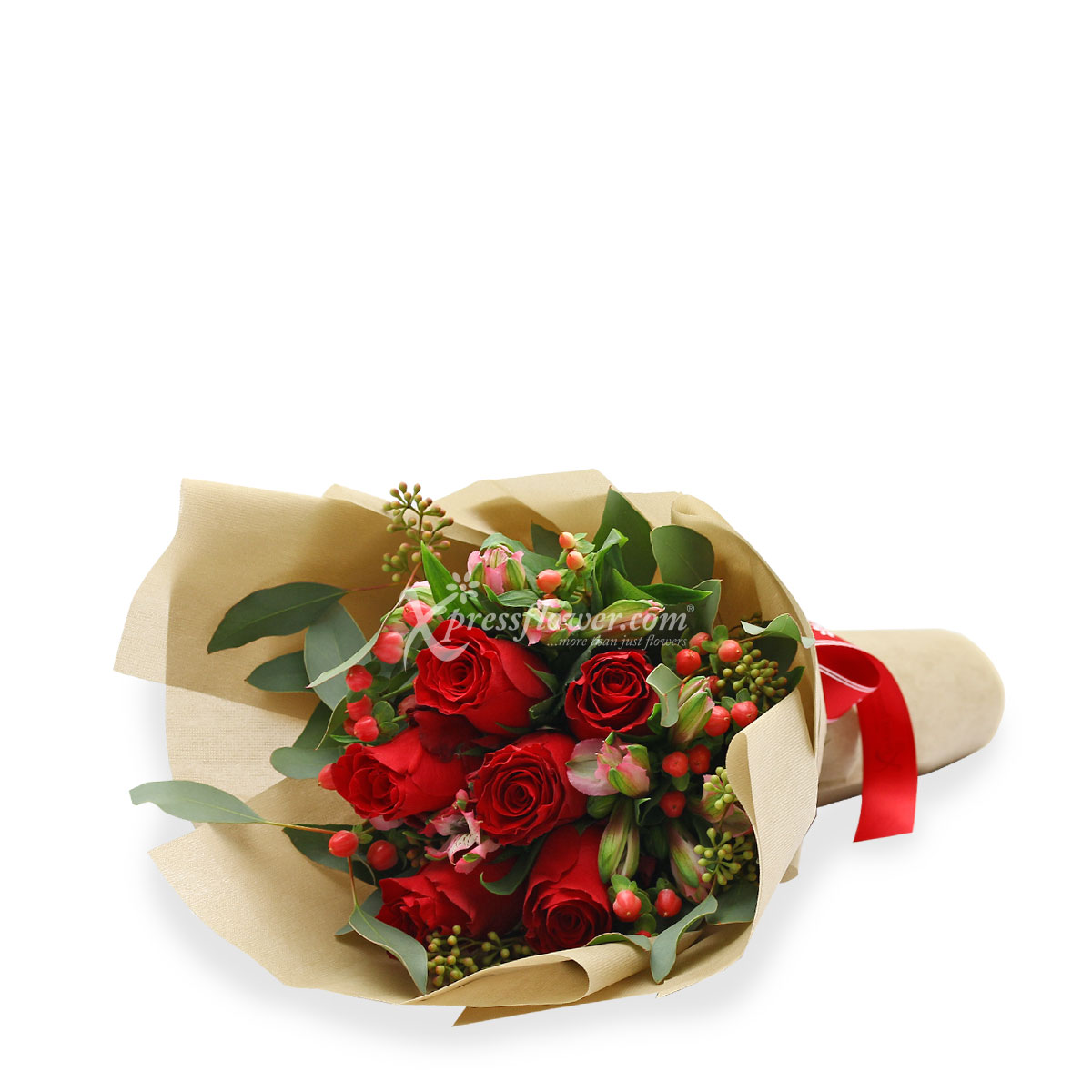 VD1702 6 stalks red roses bouquet