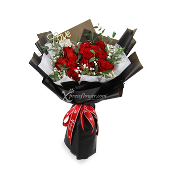 Deepest Love (12 Red Roses With 'Love' Ornament)