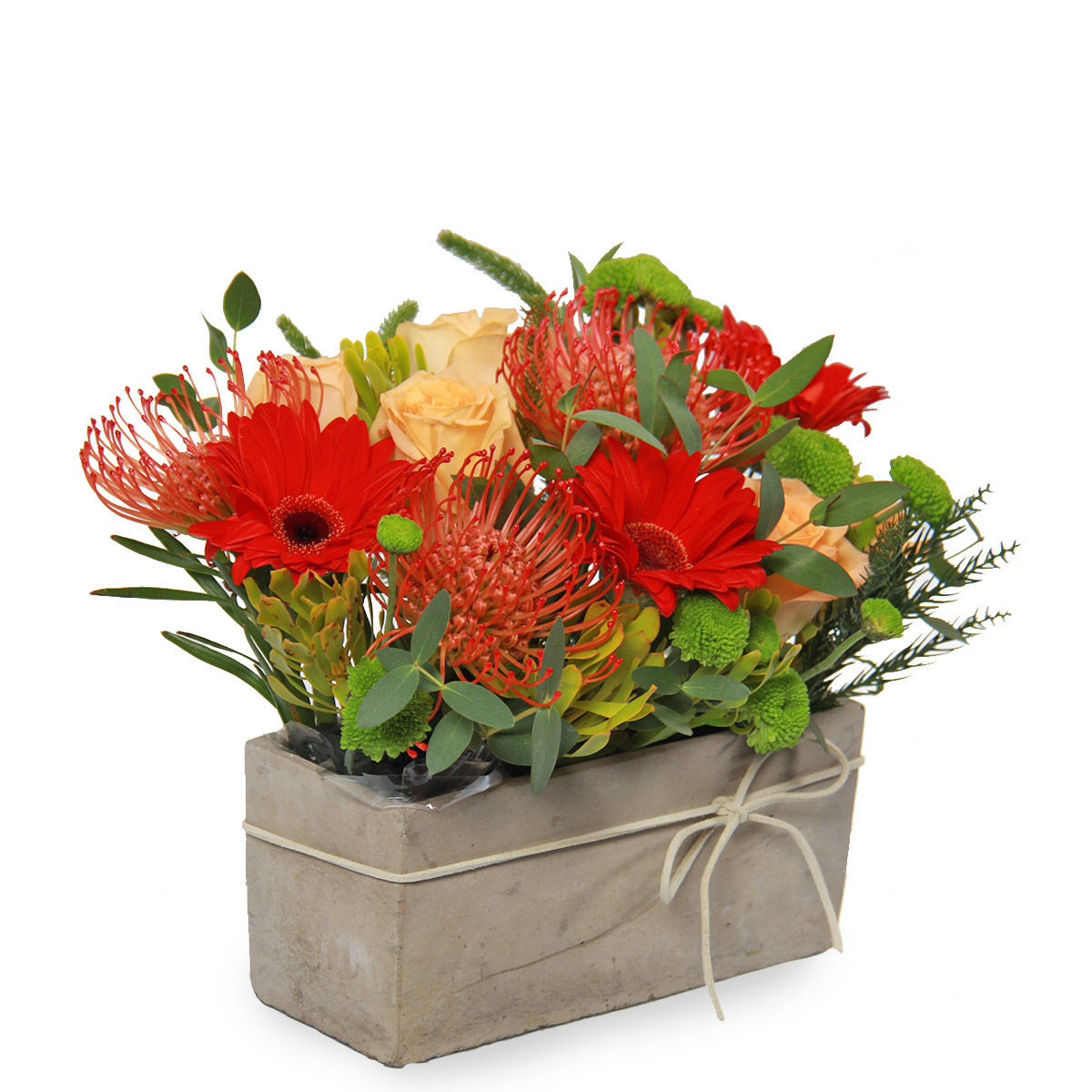 AR1719 striking summer red cushion roses gerberas