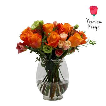 Sunset Lane (12 Kenya Orange Roses)