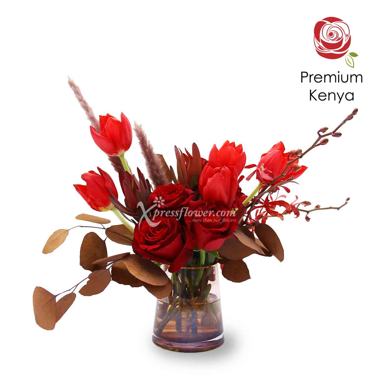 Braveheart (Red Tulips and Premium Kenya Red Roses Flower Arrangement)