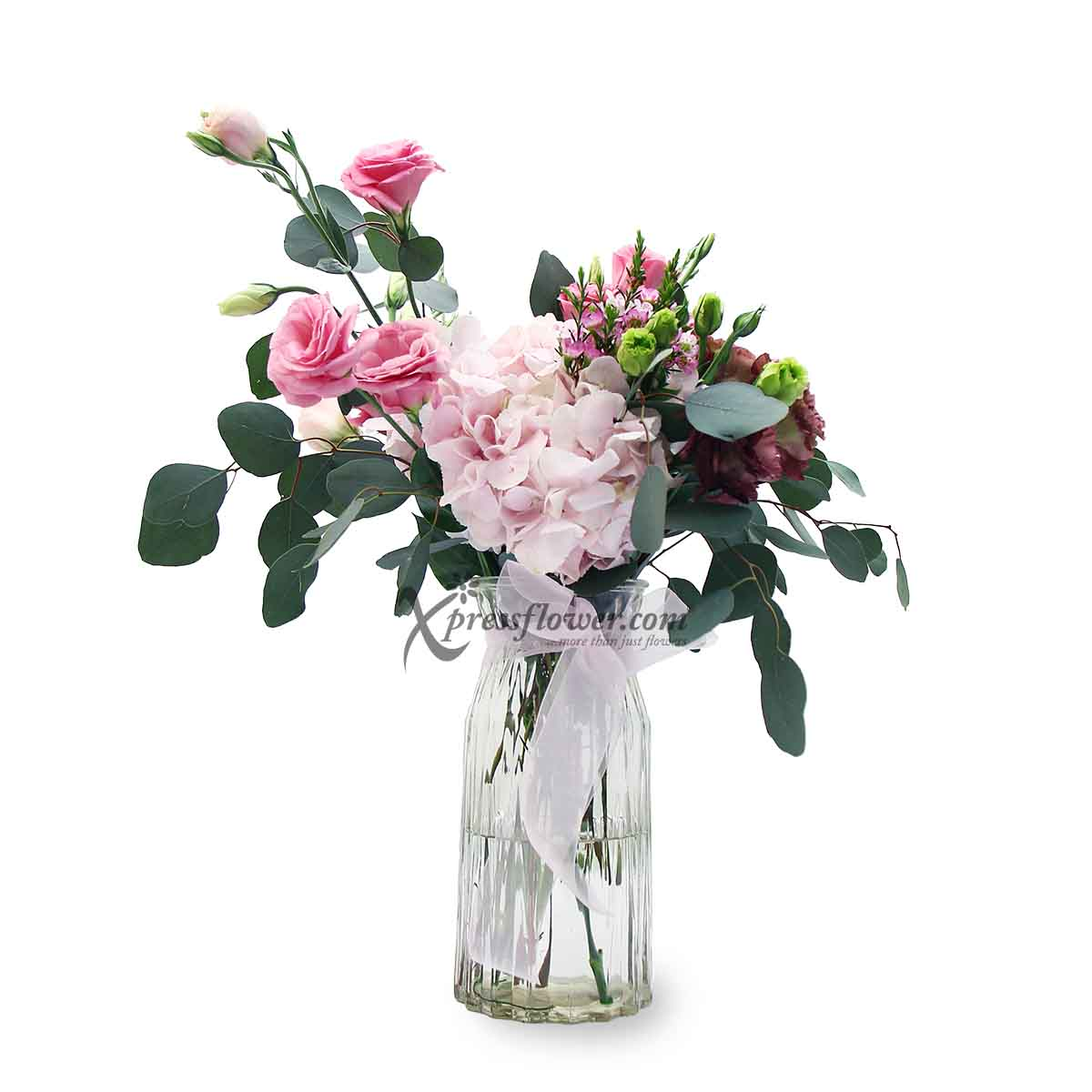 English Elegance (Pink Hydrangea and Pink Eustomas Flower Arrangement)