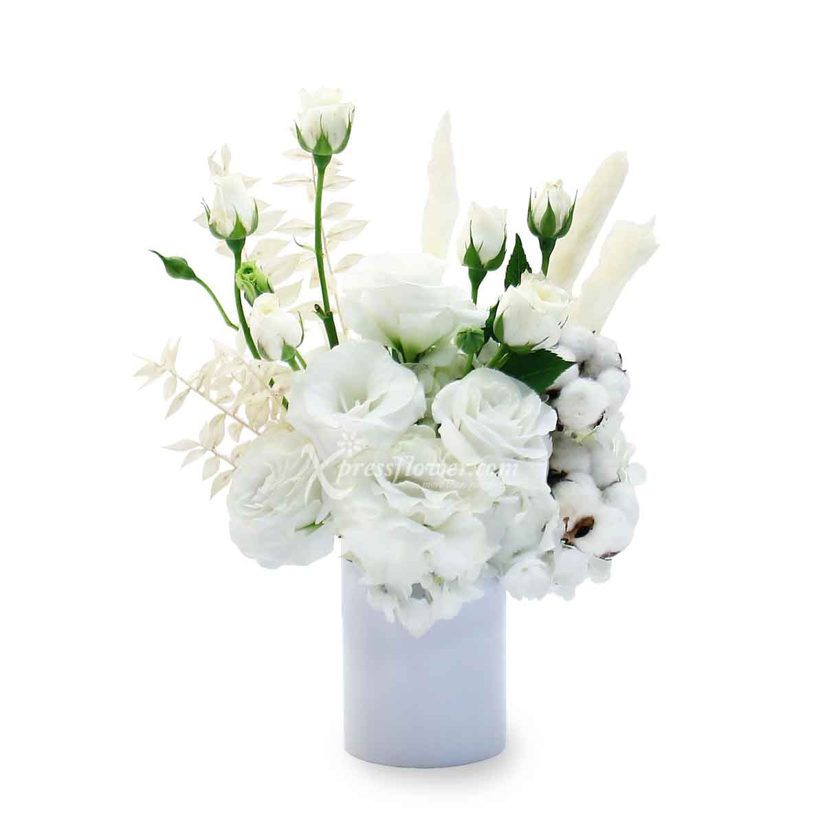 Bloom with Grace (White Rose Spray Flower Arrangement)