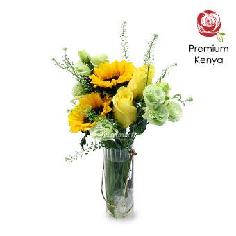 Eternal Sunshine (2 Sunflowers &  2 Kenya Yellow Roses)