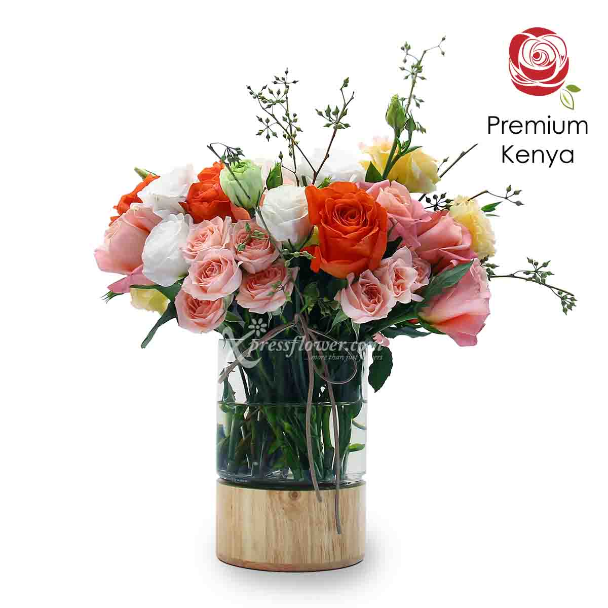 Beaming Beauty (Premium Kenya Pink and Orange Roses Flower Arrangement)