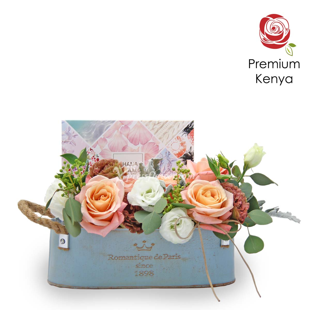 AR2107_Vintage Love (5 Kenya Pink Roses with White and Brown Eustomas)_B