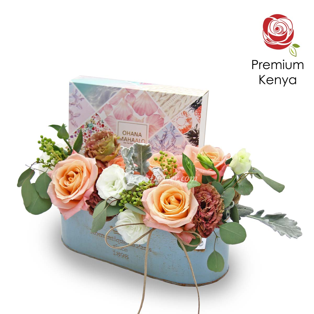 AR2107_Vintage Love (5 Kenya Pink Roses with White and Brown Eustomas)_C