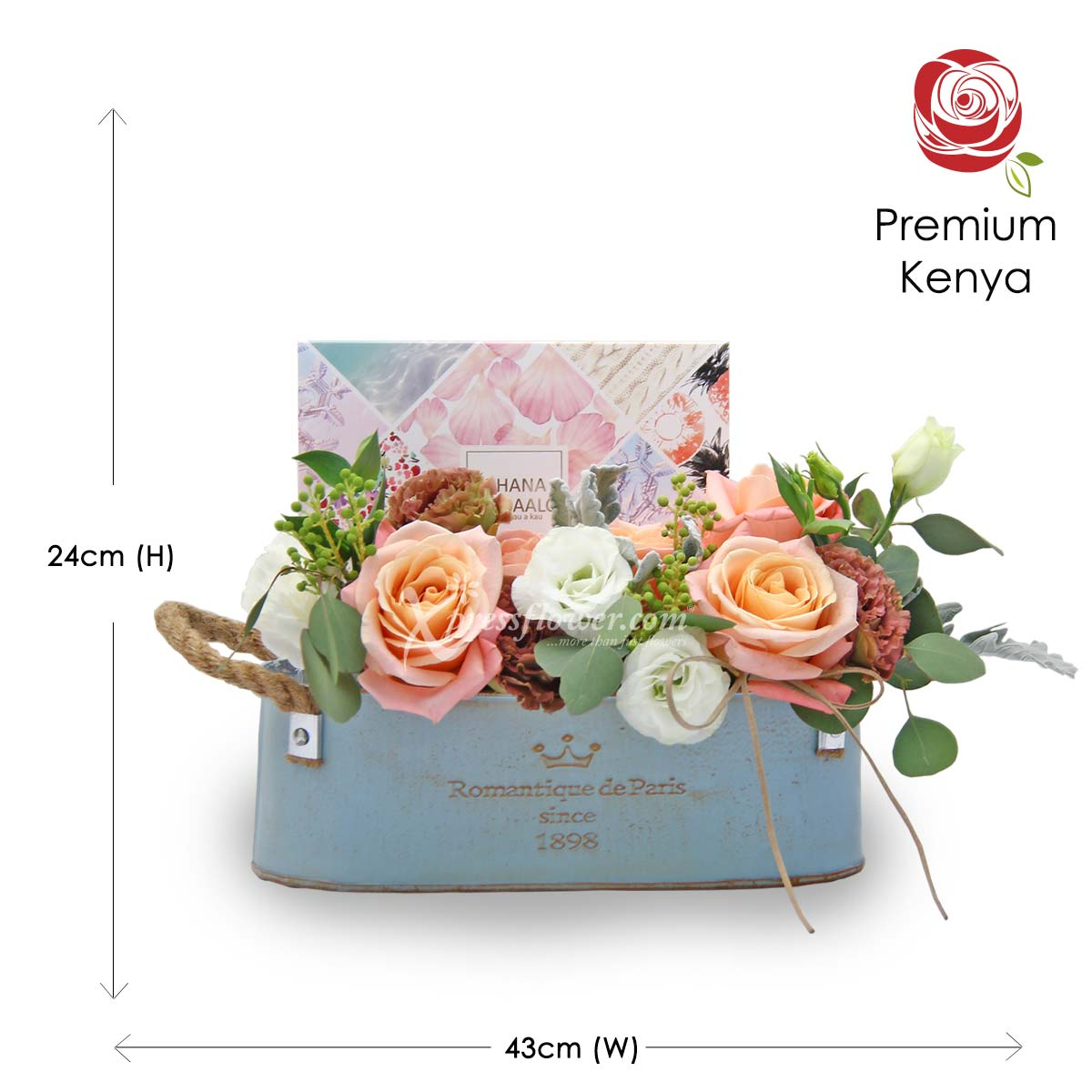 AR2107_Vintage Love (5 Kenya Pink Roses with White and Brown Eustomas)_D