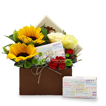 Ethereal Sunshine (2 Sunflowers with Red Rose Spray)