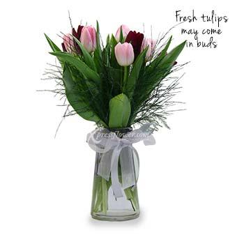 Elegantly Beautiful (5 pink & 5 purple tulips)