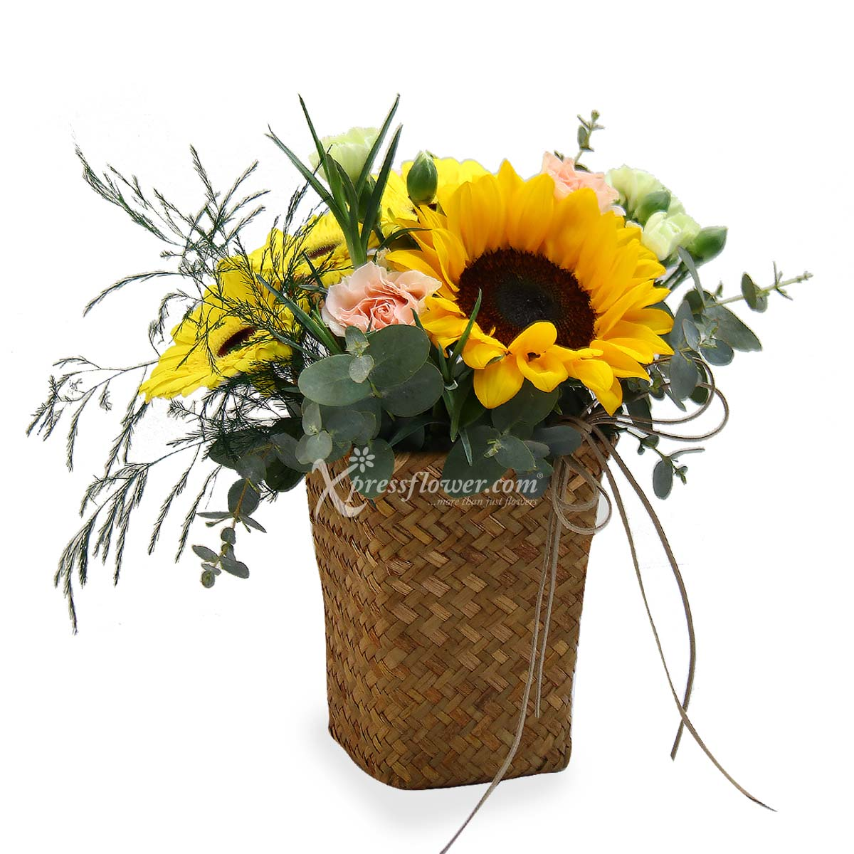 Basket Full of Sunshine (1 sunflower & 3 yellow gerberas)